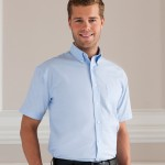 blue work shirts